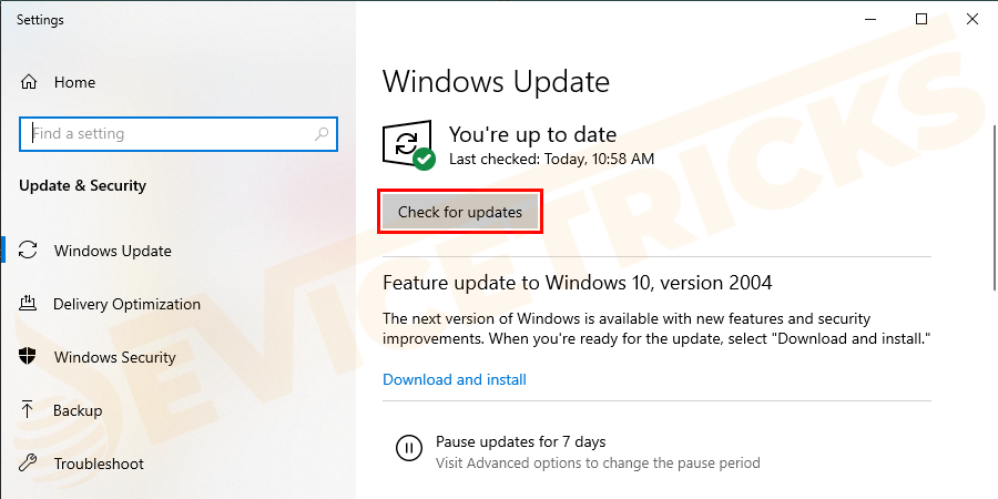 Now in window appears > click Windows update > Check for updates.