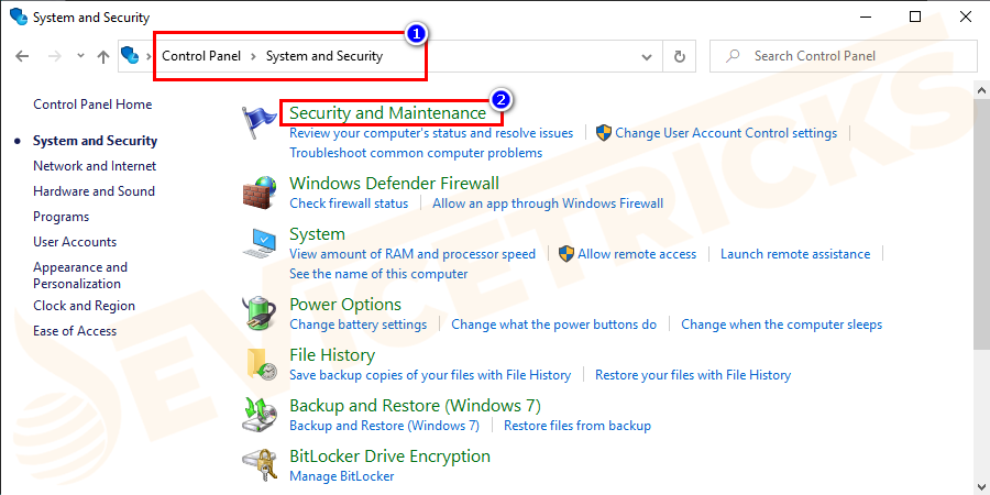 Then click on System and Security >click on Security and Maintenance > Troubleshooting.