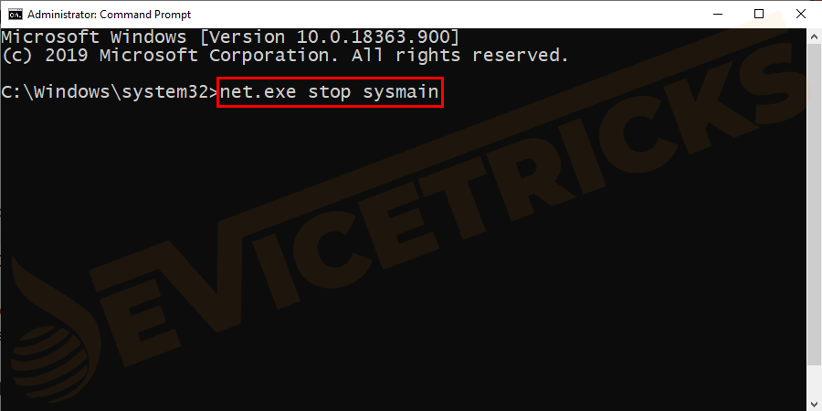 Alternatively, you can also type net.exe stop sysmain if the above command won't stop Superfetch service.