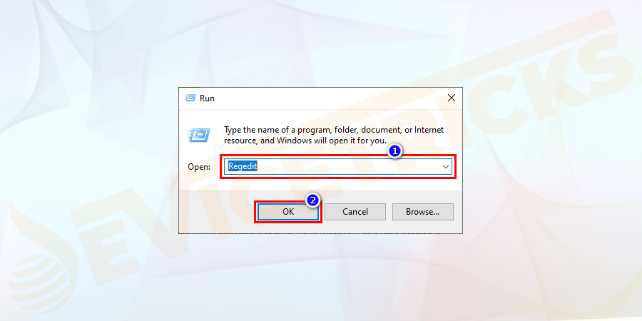 Press the Windows + R keys to open Run dialog box > here type Regedit and press Enter.